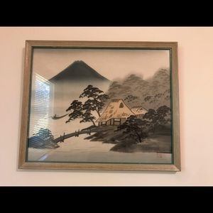 Antique vintage Japanese silk paintings